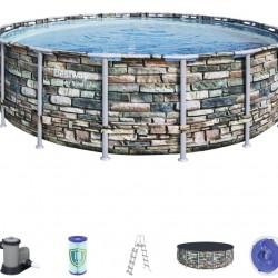 Piscina cu cadru otel model Piatra 549 x 132 cm cu accesorii