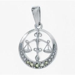Pandantiv Balanta din argint cu pietre semipretioase moldavite