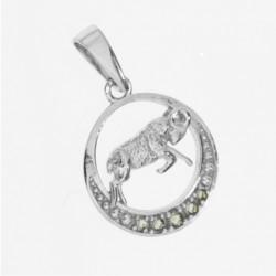 Pandantiv Berbec din argint cu pietre semipretioase moldavite