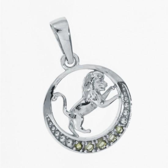 Pandantiv Leu din argint cu pietre semipretioase moldavite