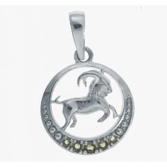 Pandantiv Capricorn din argint cu pietre semipretioase moldavite