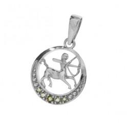 Pandantiv Sagetator din argint cu pietre semipretioase moldavite