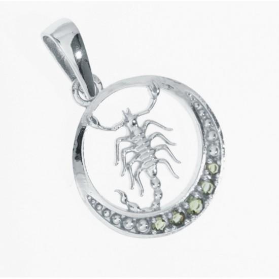 Pandantiv Scorpion din argint cu pietre semipretioase moldavite